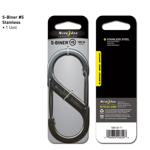 Nite-Ize Dual Carabiner Stainless Steel SB5-03-11 Stainless 4.38in. x 1.93in. x 0.33in.