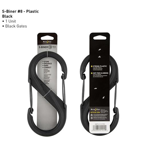 Nite-Ize Dual Carabiner Plastic SBP8-03-01BG Black 7.87in. x 3.67in. x 0.58in.
