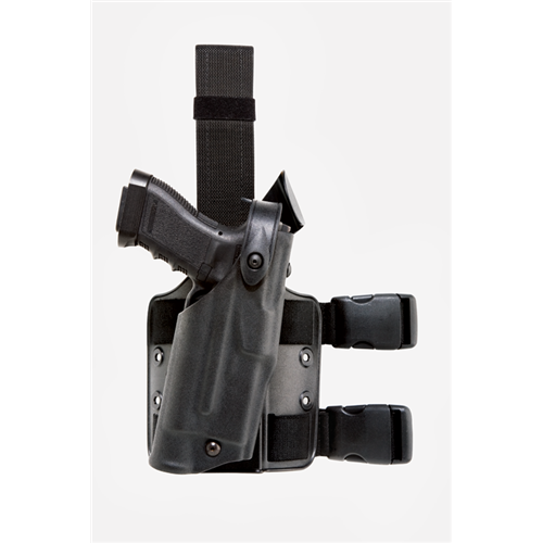 Safariland 6304 ALS/SLS Tactical Holster Drop-Rig Tactical Holster with ALS and SLS 6304-7742-131 Black STX Tactical 7742 Right
