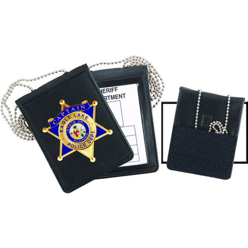 Strong Leather Company Recessed Velcro Badge And Id Holder With Chain 71600-0402