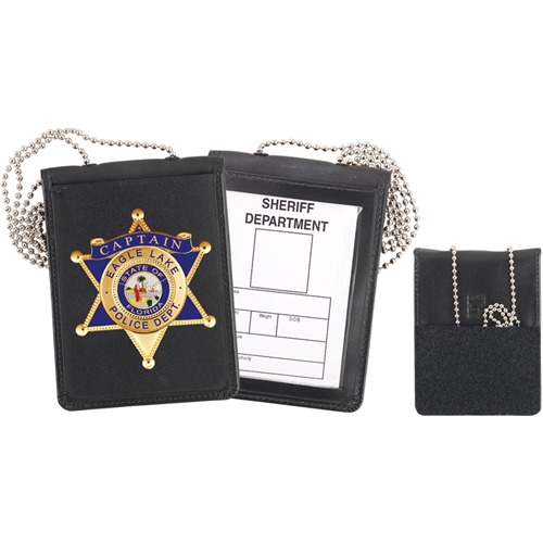 Strong Leather Company Recessed Velcro Badge And Id Holder With Chain 71600-3512
