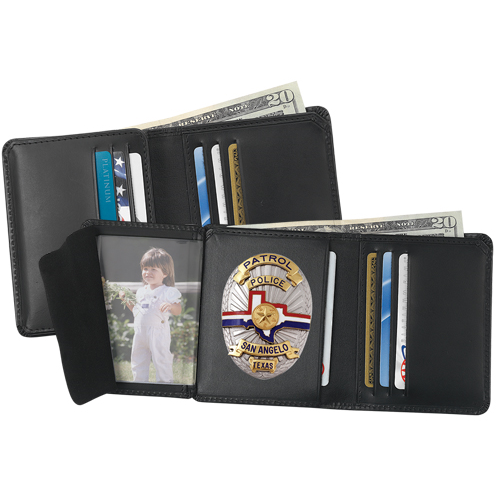 Strong Leather Company Hidden Badge Wallet - Dress 79520-10722 Smith & Warren E288 Black