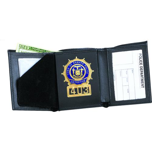 Strong Leather Company Tri-Fold Badge Wallet - Dress 79800-0402 Blackinton B1006 Black