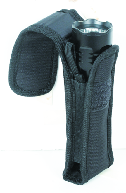 Voodoo Tactical Flashlight Pouch W/ Adjustable Cover & Elastic Sides 20-0135001000 Black Nylon Velcro