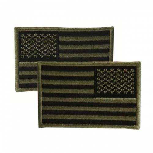 Voodoo Tactical Embroidered USA Military Flag Patches 20-9087004001 OD Green Reversed