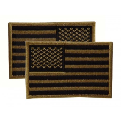 Voodoo Tactical Embroidered USA Military Flag Patches 20-9087007001 Coyote Reversed