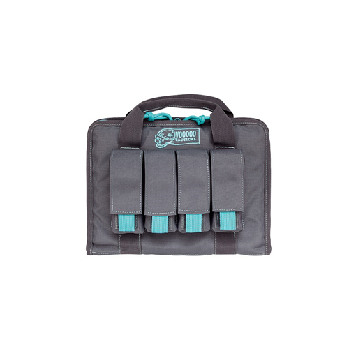 Voodoo Tactical Pistol Case W/ Mag Pouches 25-0017161000 Gray/Teal