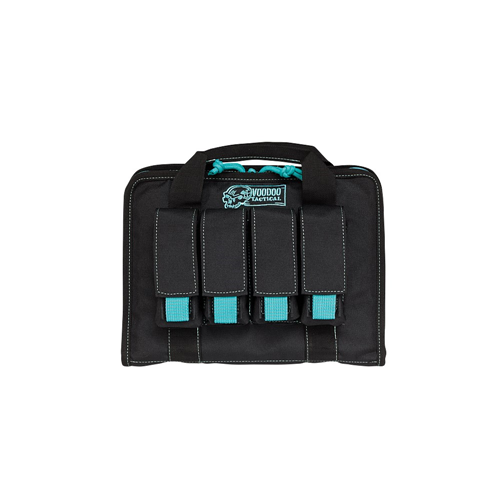 Voodoo Tactical Pistol Case W/ Mag Pouches 25-0017162000 Black/Teal