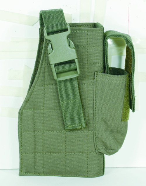 Voodoo Tactical Tactical Molle Holster w/ Attached Mag Pouch 25-0029004001 OD Green Right