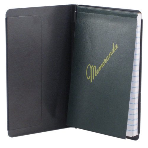 Saunders Padfolio with Writing Pad Black Alum Pocket Size 3.5 x 5.5 paper 00883