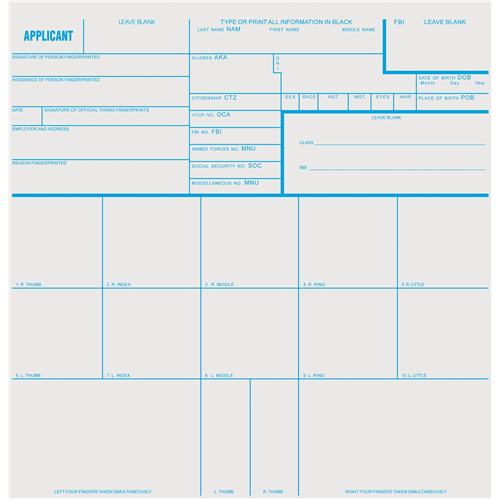Sirchie Applicant Record Cards FD258