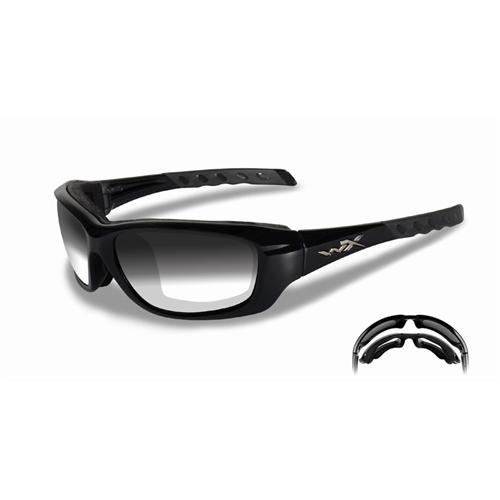 Wiley X Gravity Glasses CCGRA05 Gloss Black Light Adjusting Smoke Gray
