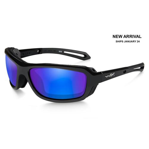 Wiley X Wave CCWAV09 Gloss Black Polarized Blue Mirror