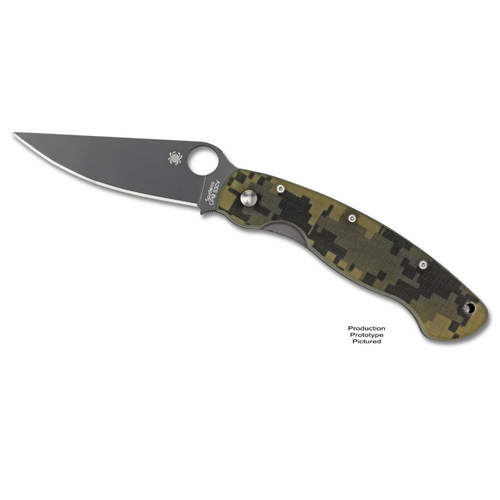 Spyderco Military Model C36GPCMOBK Black Plain Clip Point w/ Digital Camo Grip