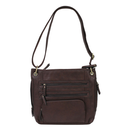 Bulldog Cases Large Cross Body Style Purse w/ Holster Chocolate Brown BDP-039