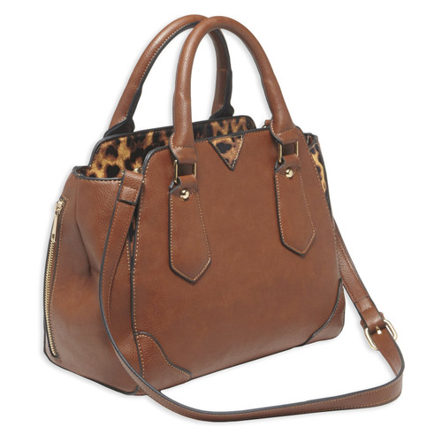 Bulldog Cases Satchel Style Purse w/ Holster Chestnut with Leopard Trim BDP-024