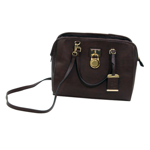 Bulldog Cases Satchel Style Purse w/ Holster Chocolate Brown BDP-028