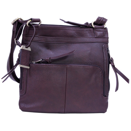 Bulldog Cases Medium Cross Body Style Purse w/ Holster Chocolate Brown BDP-035