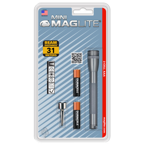 Maglite Mini Maglite Flashlight AA Blister Gray Pewter M2A096