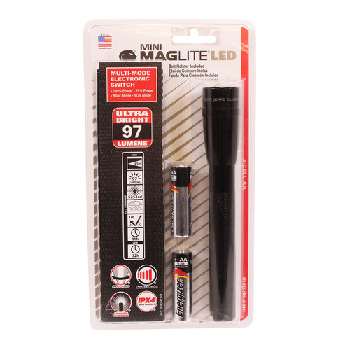 Maglite LED Mini Maglite 2-Cell AA Flashlight Holster Pk Blk SP2201H