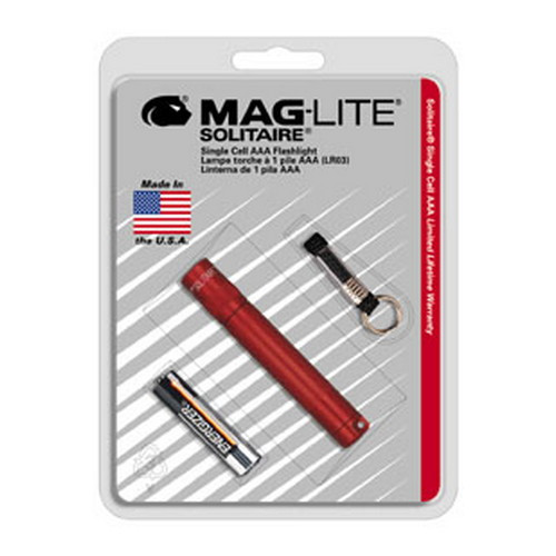 Maglite AAA Solitaire Flashlight Blister Pack Dk Red K3A036