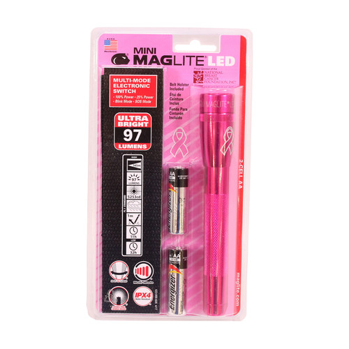 Maglite 3-Cell AA MINI MAG LED Flashlight NBCF PINK Blister Pack SP22MWH