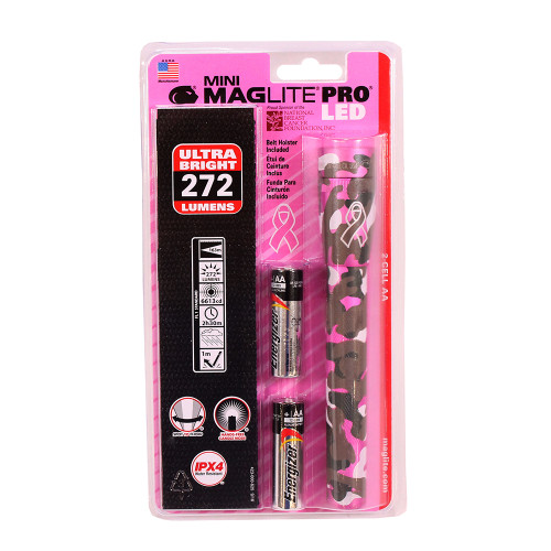 Maglite 3-Cell AA MM LED Pro Flashlight Holster NBCF Pink Camo SP2PTWH