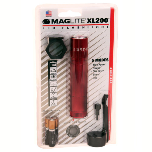Maglite 3-Cell LED Tactical Flashlight Blister Pack Red XL200-S303C