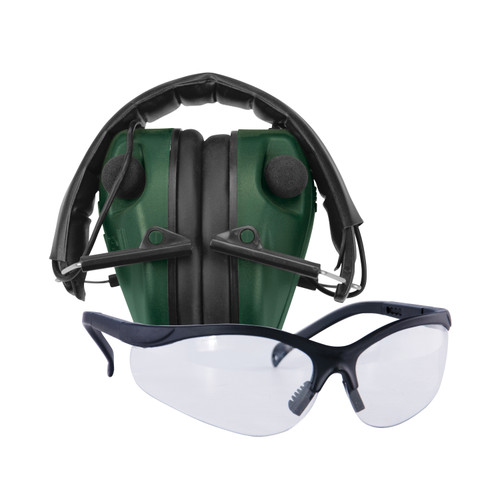 Caldwell E-Max Low Profile Electronic Ear Muffs w/ Shooting Glasses Green 487309