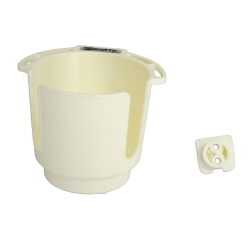 Scotty Cup Holder with Bulkhead/Gunnel Mount White 0310-WH