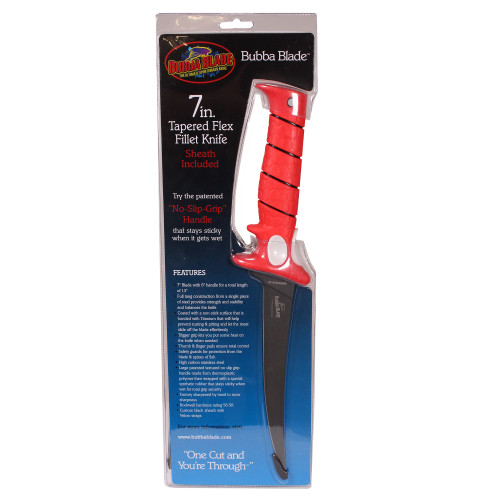 Bubba Blade Knives by BTI Tool Fillet Knife 7in. Tapered Flex with Sheath BB1-7F