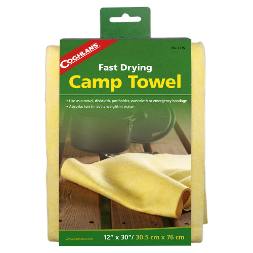 Coghlans Fast Drying Camp Towel (30in. x 12in.) Yellow 9335