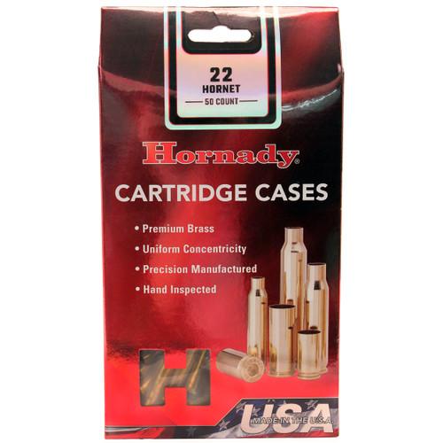 Hornady Cartride Cases Reloading Brass .22 Hornet Unprimed 50-Pack 8602