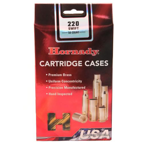 Hornady Cartridge Cases Reloading Brass .220 Swift Unprimed 50-Pack 8615