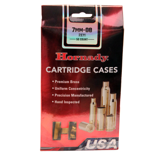 Hornady Cartridge Cases Reloading Brass 7mm-08 Remington Unprimed 50-Pack 8646