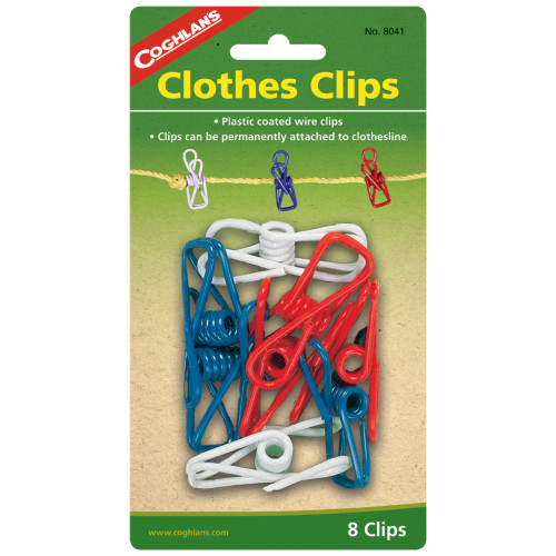Coghlans Colorful Plastic Clothes Clips 8-Pack 8041