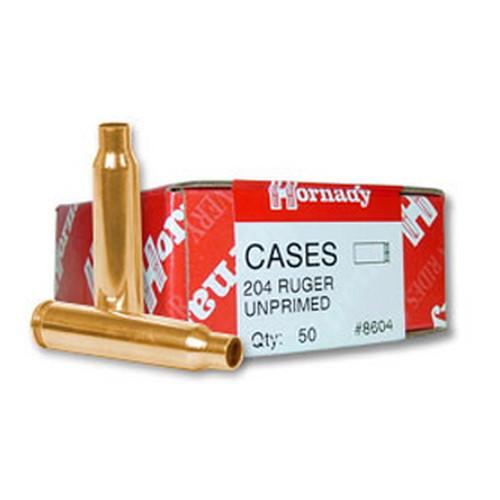 Hornady Cartridge Cases Reloading Brass .204 Ruger Unprimed 50-Pack 8604