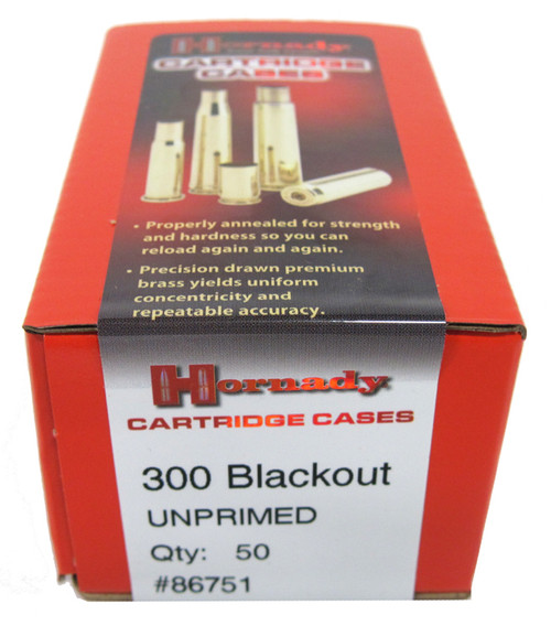 Hornady Cartridge Cases Reloading Brass .300 AAC Blackout Unprimed 50-Pack 86751