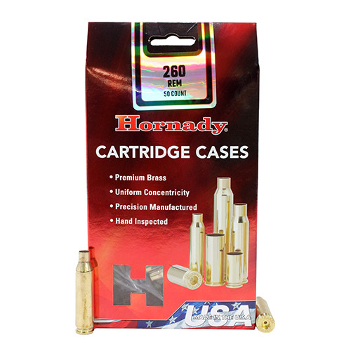 Hornady Cartridge Cases Reloading Brass .260 Remington Unprimed 50-Pack 8632