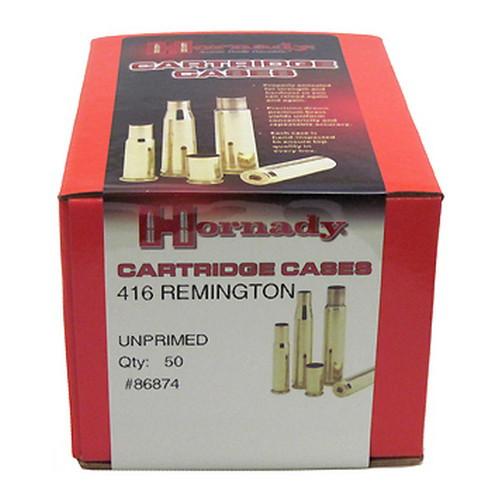 Hornady Cartridge Cases Reloading Brass .416 Remington Unprimed 50-Pack 86874