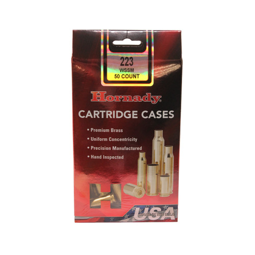 Hornady Cartridge Cases Reloading Brass .223 WSSM Unprimed 50-Pack 8617