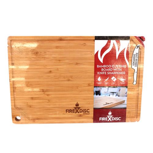 FireDisc Cookers Bamboo Cutting Board w/ Knife Sharpener TCGBCB