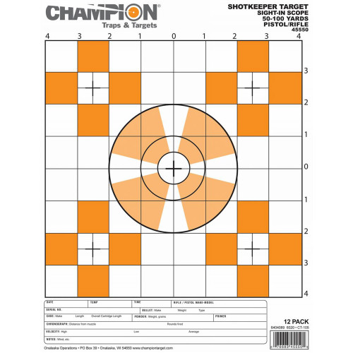 Champion Traps and Targets Shotkeeper Sight-In Scope Target Small 12-Pack 45550