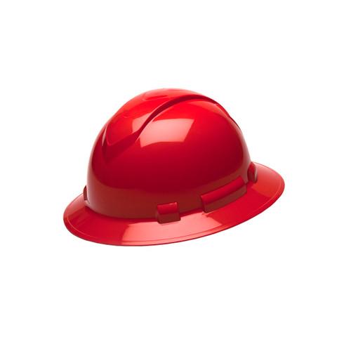 Pyramex Safety Ridgeline Full Brim Hard Hat 4-Point Ratchet Red HP54120