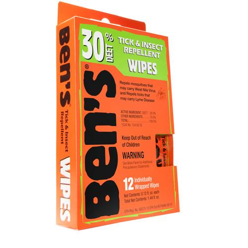 Adventure Medical Ben's Tick & Insect Repellent 30% Deet Wipes (1 box of 12pcs) 0006-7085