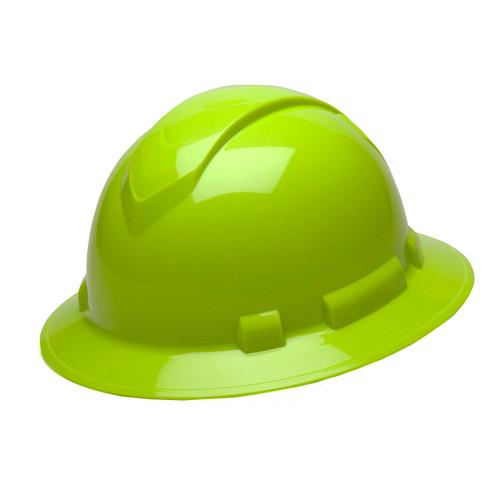 Pyramex Safety Ridgeline Full Brim Hard Hat 4-Point Ratchet Hi-Vis Green HP54131