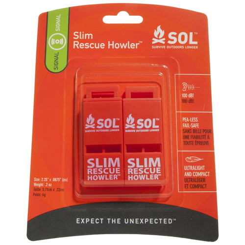 Adventure Medical SOL Slim Rescue Howler Whistle (2/Pack) 0140-0010