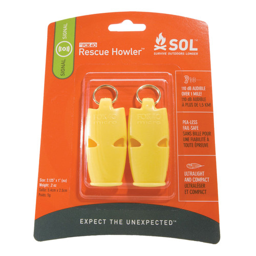 Adventure Medical SOL Rescue Howler Whistle (2/Pack) 0140-1002