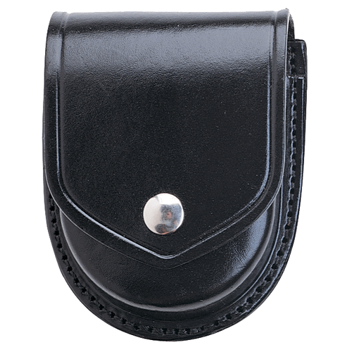 Aker Leather 500D Compact Round Double Handcuff Case A500D-BW-V Black Basket Weave Standard Chain/Hinged Velcro