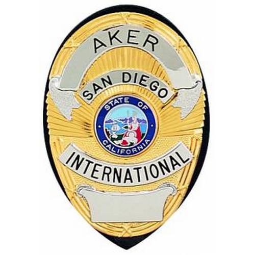Aker Leather Clip-On Shield Badge Holder A591-BP Black Plain Brass
